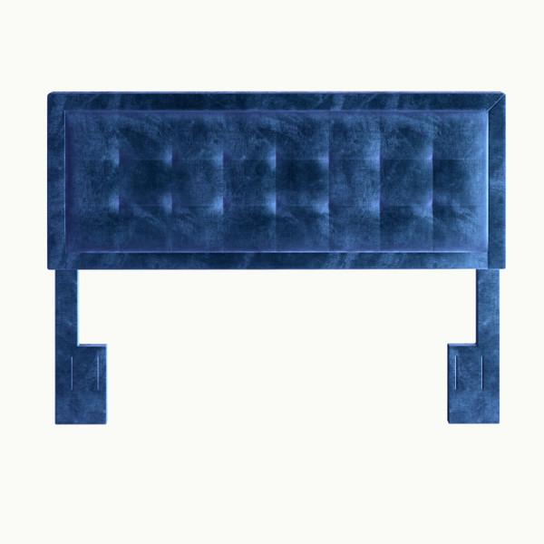 Zia Velvet Upholstered Headboard Blue