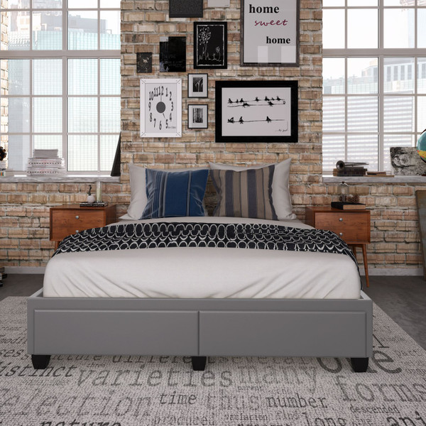 Patrina Faux Leather Upholstered Storage Bed Grey