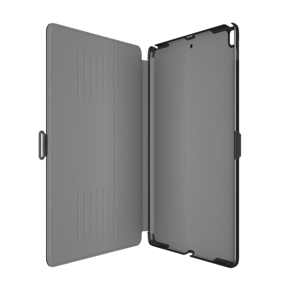 Speck - Balance Folio with Sleep / Wake Magnet for Apple iPad 9.7 (2018 6th Gen / 2017 5th Gen) / Pro 9.7 / Air 2 / Air - Black and Slate Gray Opened