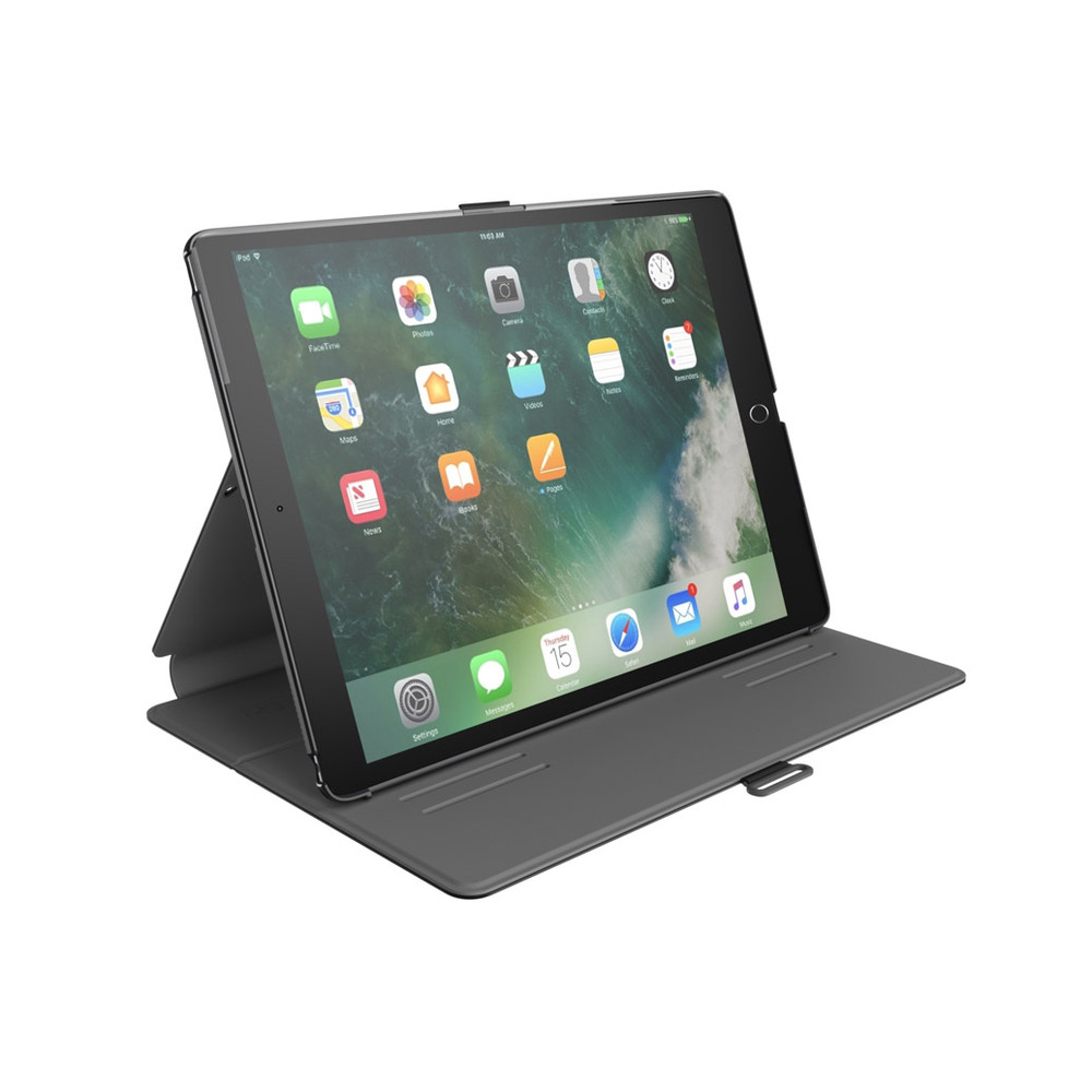 Speck - Balance Folio with Sleep / Wake Magnet for Apple iPad 9.7 (2018 6th Gen / 2017 5th Gen) / Pro 9.7 / Air 2 / Air - Black and Slate Gray with iPad Opened Front