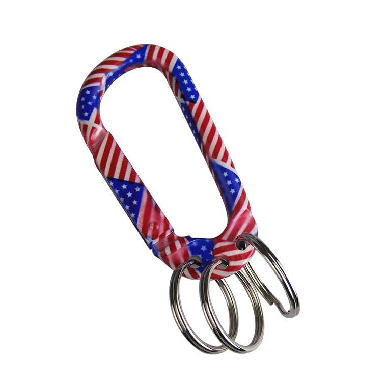 US Flag Carabiner With 3 Keyrings