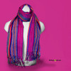 """SSRF113 - """"Electra"""" Scarf w/Fringe - Magenta Center with Multi-Colors. 100% Cotton. Made in Guatemala."""