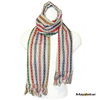 """#SSRF120 - """"Penelope"""" Scar w/Fringe - Off White with Multi-Color Stripe and Pink. 100% Cotton.  https://www.mayawear.com"""