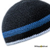 KUF202 - Black with Blue & Blue Gray Stripe. Beanie/Kufi. 100% Cotton. Made in Guatemala. Pattern may vary. https://www.mayawear.com