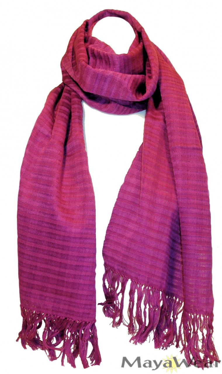 "SSRF103 - ""Raspberry"" Scarf w/Fringe. 100% Cotton. Made in Guatemala. https://www.mayawear.com"