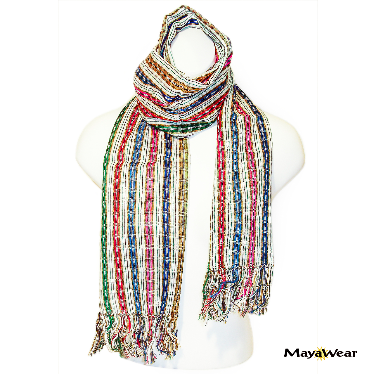 "#SSRF120 - ""Penelope"" Scar w/Fringe - Off White with Multi-Color Stripe and Pink. 100% Cotton.  https://www.mayawear.com"