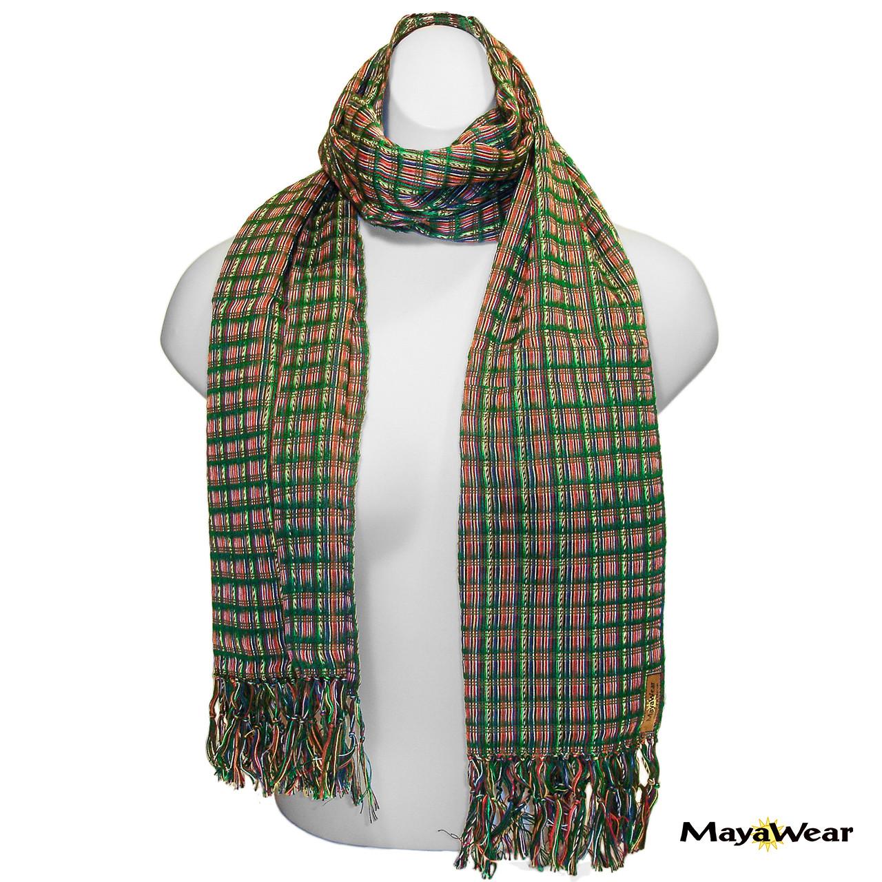 "SSRF134 - ""Springtime"" Scarf w/Fringe. 100% Cotton. Made in Guatemala. https://www.mayawear.com"