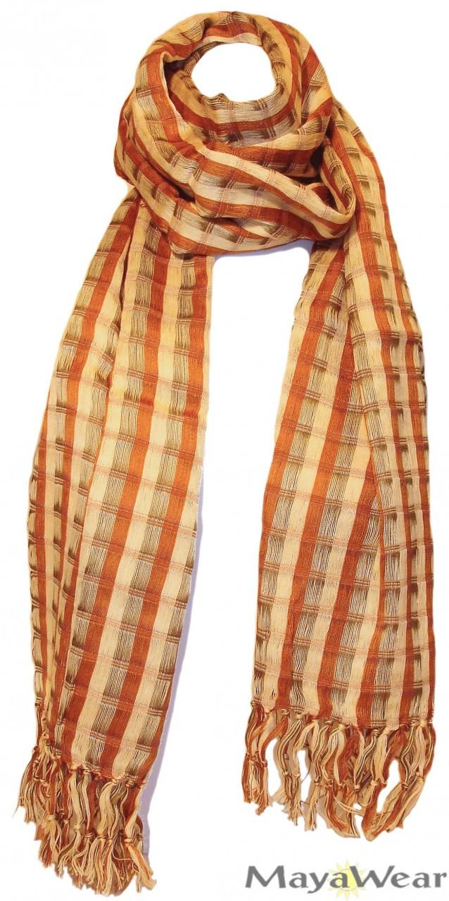 SSRF142 - Harvest Fall Scarf w/Fringe. Hand Woven 100% Cotton. Made in Guatemala. https://www.mayawear.com
