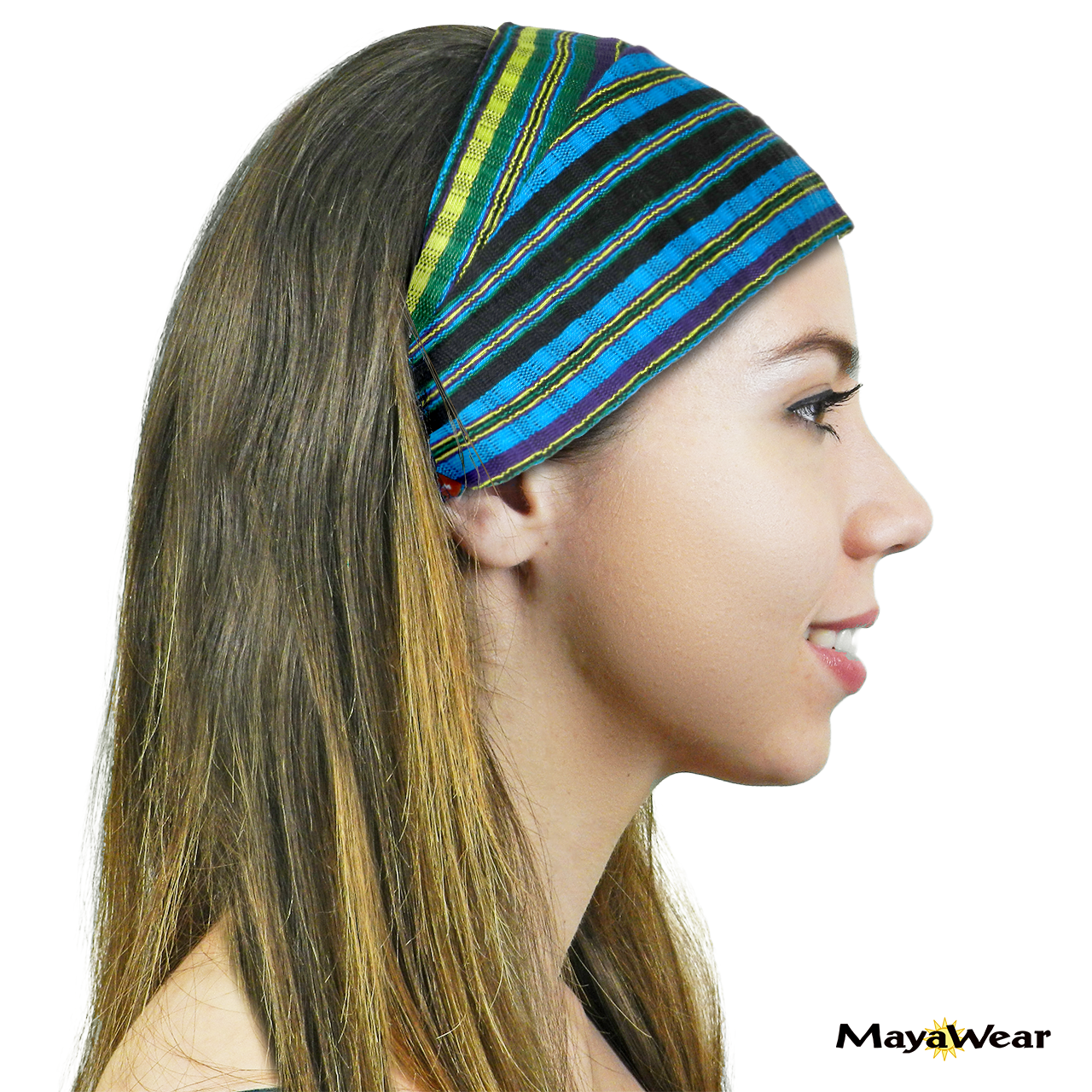 "BAND165 - ""Sea Paradise"" Bandana. 100% Cotton. Made in Guatemala. https://www.mayawear.com  - SIde View"