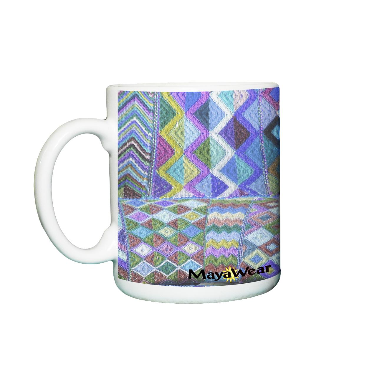 MayaWear Tapestry Coffee Cup Blue   11 oz