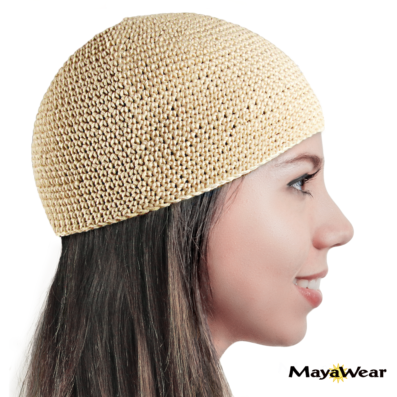 #KUF44  Ivory (Off-White, Natural) Beanie Kufi. 100% Cotton. Made in Guatemala. https://www.mayawear.com