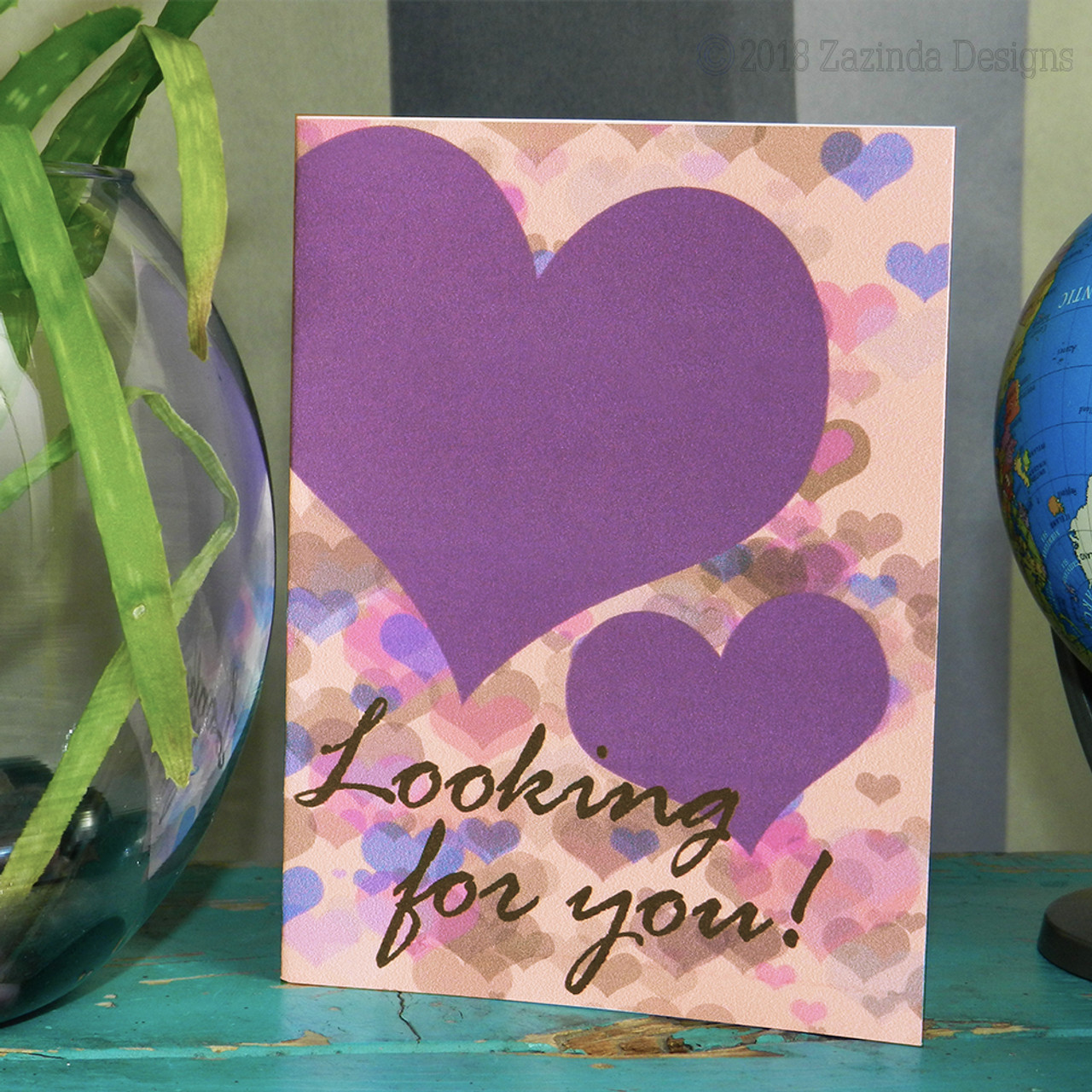 "Valentine's Day Card ""Looking for You!""  3x5 blank inside.  Downloadable.  Created by Zazinda Designs"