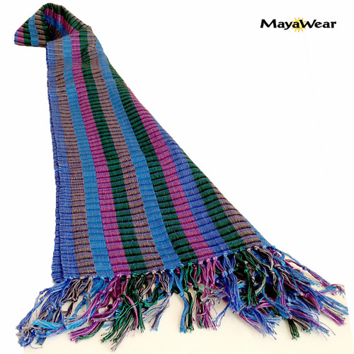 "SSRF109 ""Iris"" - Blue & Purple Scarf Fringe. 100% Cotton. Made in Guatemala."