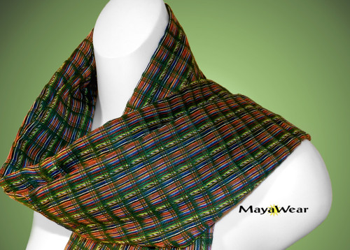"SRF134 - ""Spring Time"" Scarf w/Fringe. 100% Cotton. Made in Guatemala. https://www.mayawear.com"