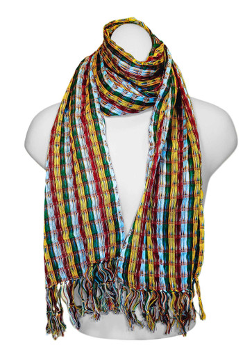 "SSRF137 - ""Confetti"" Scarf w/Fringe. 100% Cotton. Made in Guatemala. https://www.mayawear.com"