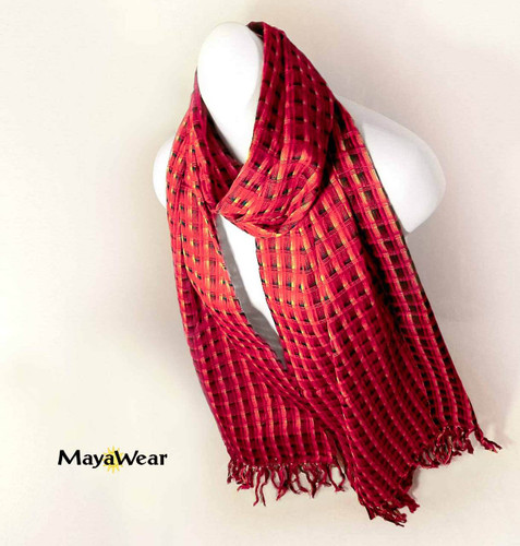 "SSRF138 - ""Red Hot Salsa"" Scarf w/ Fringe. 100% Cotton. Made in Guatemala. https://www.mayawear.com"
