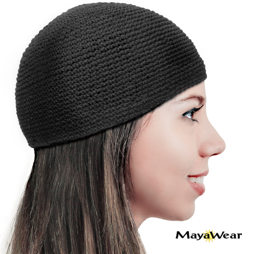 KUF46 Black Closed Knitted Kufi Beanie Hat. 100% Cotton. Made in Guatemala. (more colors available) https://www.mayawear.com