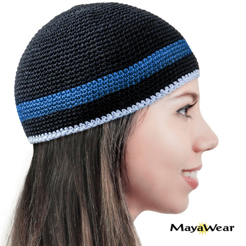 KUF202 - Black with Blue & Blue Gray Stripe. Beanie/Kufi. 100% Cotton. Made in Guatemala. Pattern may vary. https://www.mayawear.com