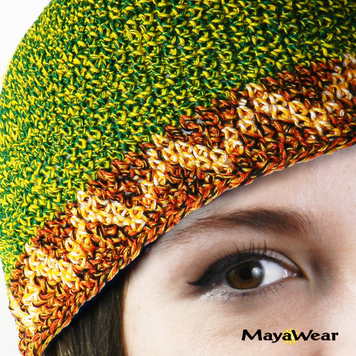 KUF39 - Green, mixed with Yellow with Tan Trim.     www.mayawear.com