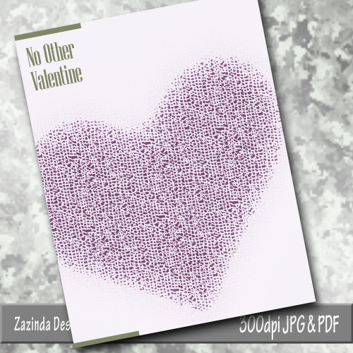 "Valentine's Day Card ""No Other Valentine""  3x5 blank inside.  Downloadable.  Created by Zazinda Designs"