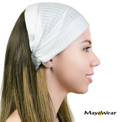 "BAND-WW ""Lily"" Solid White Bandana 100% Cotton. Made in Guatemala. https://www.mayawear.com"