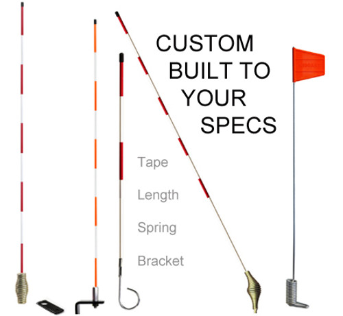 Built your way - tape, length, spring, bracket, add a flag. Six reflective tape colors to choose from as well as nine flag colors are all options available to set your markers apart from your competition. Take it one step further and have your company logo/message printed on the tape and or flag.