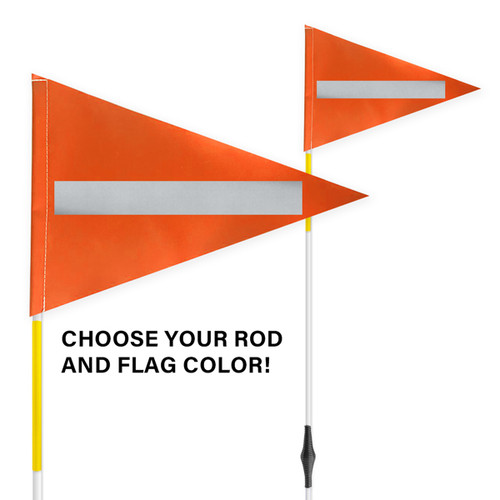 """Spring Tile and Field Marker with Flag + Reflective Laminate on Flag + Reflective Tape on Rod 1/4"""" x 6'"""