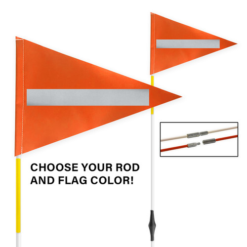 """Tile and Field Marker with Flag + Reflective Laminate on Flag + Reflective Tape on Rod 5/16"""" x 10' (2-PIECE)"""