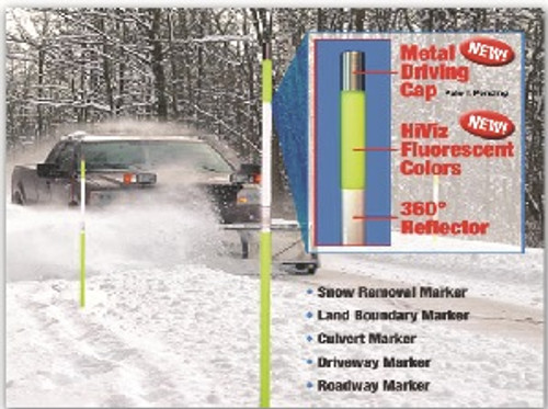 """Snow Pole Reflective Markers Yellow or Orange 5/16"""" x 5'"""