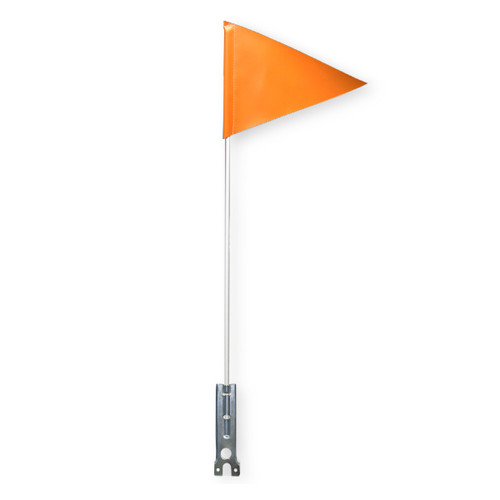 "RIGID Utility Marker Orange or White Rod with Flag + Reflective Tape and Choice of Bracket 1/4"" x 6'"