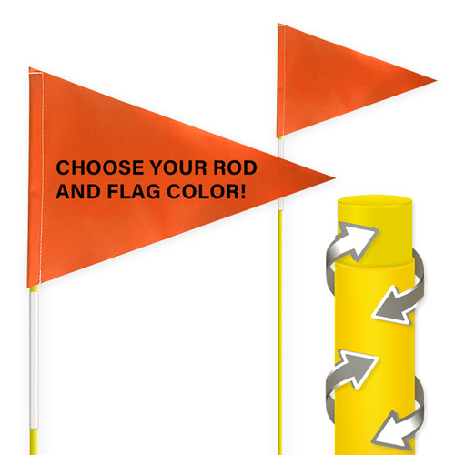 """Tile and Field Marker With Protective Dura Shield Rod and Flag + Reflective Tape on Rod 5/16"""" x 5'"""