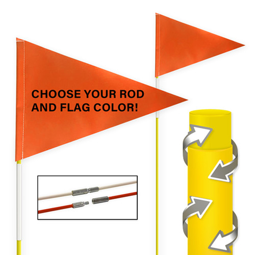"""Tile and Field Marker With Protective Dura Shield Rod and Flag + Reflective Tape on Rod 5/16"""" x 10' (2-PIECE)"""