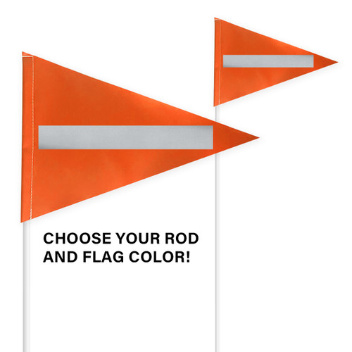 "Tile and Field Marker with Flag + Reflective Laminate on Flag 5/16"" x 8' (Actual Length 7' 9"")"
