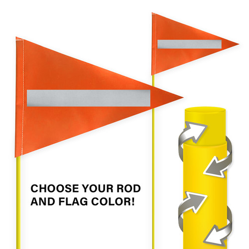 """Tile and Field Marker With Protective Dura Shield Rod and Flag + Reflective Laminate on Flag 5/16"""" x 8' (Actual Length 7' 9"""")"""
