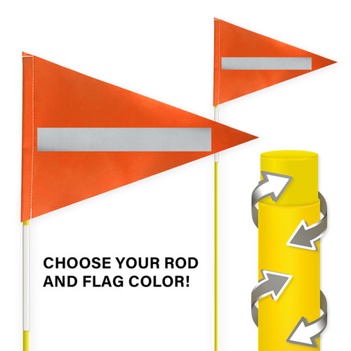 """Tile and Field Marker With Protective Dura Shield Rod and Flag + Reflective Laminate on Flag + Reflective Tape on Rod 5/16"""" x 5'"""