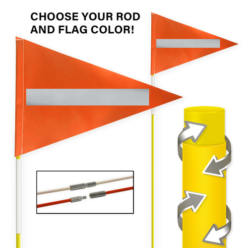 """Tile and Field Marker With Protective Dura Shield Rod and Flag + Reflective Laminate on Flag + Reflective Tape on Rod 5/16"""" x 10' (2-PIECE)"""