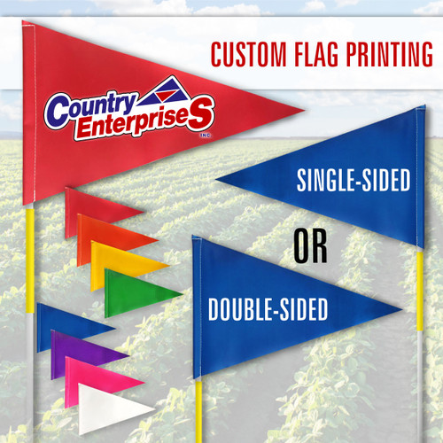 """Tile and Field Marker with Flag + Reflective Tape on Rod 5/16"""" x 8' (Actual Length 7' 9"""") (PRINTED)"""
