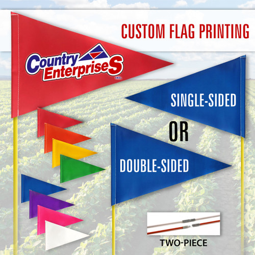 """Tile and Field Marker with Flag + Reflective Tape on Rod 5/16"""" x 10' (2-PIECE) (PRINTED)"""
