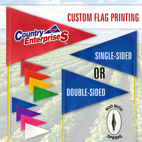 """Spring Tile and Field Marker with Flag + Reflective Tape on Rod 1/4"""" x 6' (PRINTED)"""