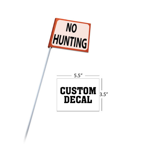 "Rigid Clip-On Flag with 5/16""x4' White Rod + Custom Decal"