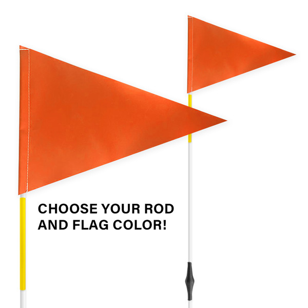 """Spring Tile and Field Marker with Flag + Reflective Tape on Rod 1/4"""" x 6'"""