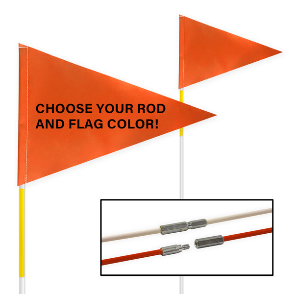 """Tile and Field Marker with Flag + Reflective Tape on Rod 5/16"""" x 10' (2-PIECE)"""