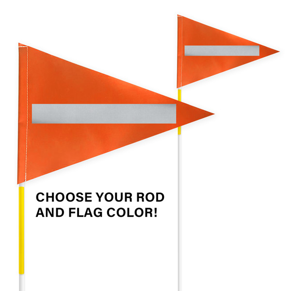 """Tile and Field Marker with Flag + Reflective Laminate on Flag + Reflective Tape on Rod 5/16"""" x 8' (Actual Length 7' 9"""")"""