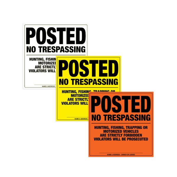 Heavy Duty No Tresspassing Sign (Plastic)