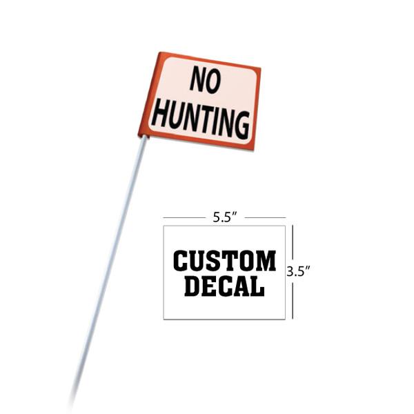 "Rigid Clip-On Flag with 5/16""x4' White Rod + Custom Decal"