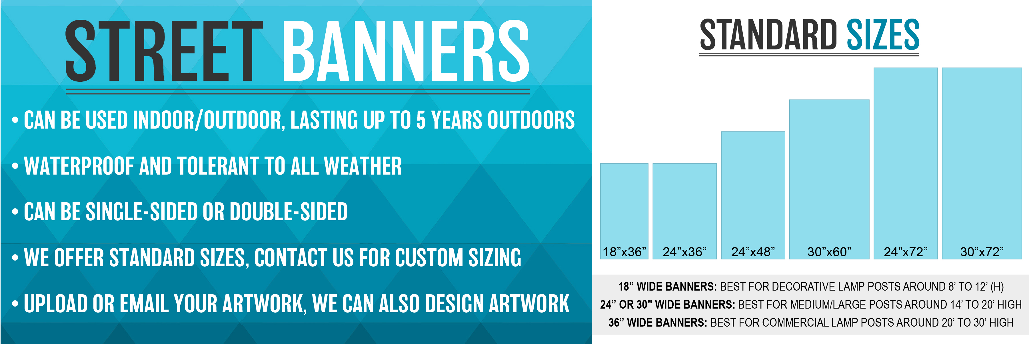 Standard street banner sizes including custom sizes.