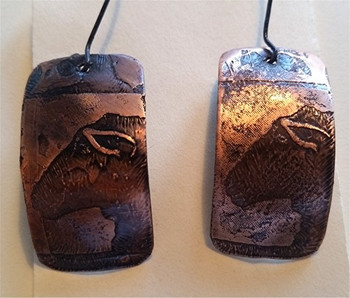 Etched Copper and Sterling Earrings