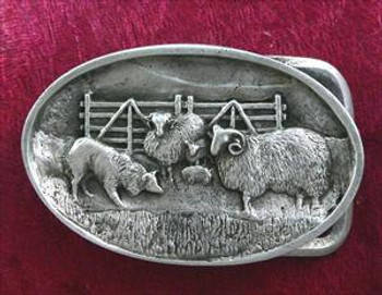 Border Collie with Sheep Belt Buckle