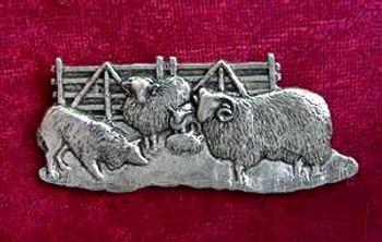 BlackFace Sheep and Border Collie Pin