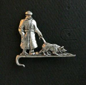 Handler with Dog on a Crook Pin